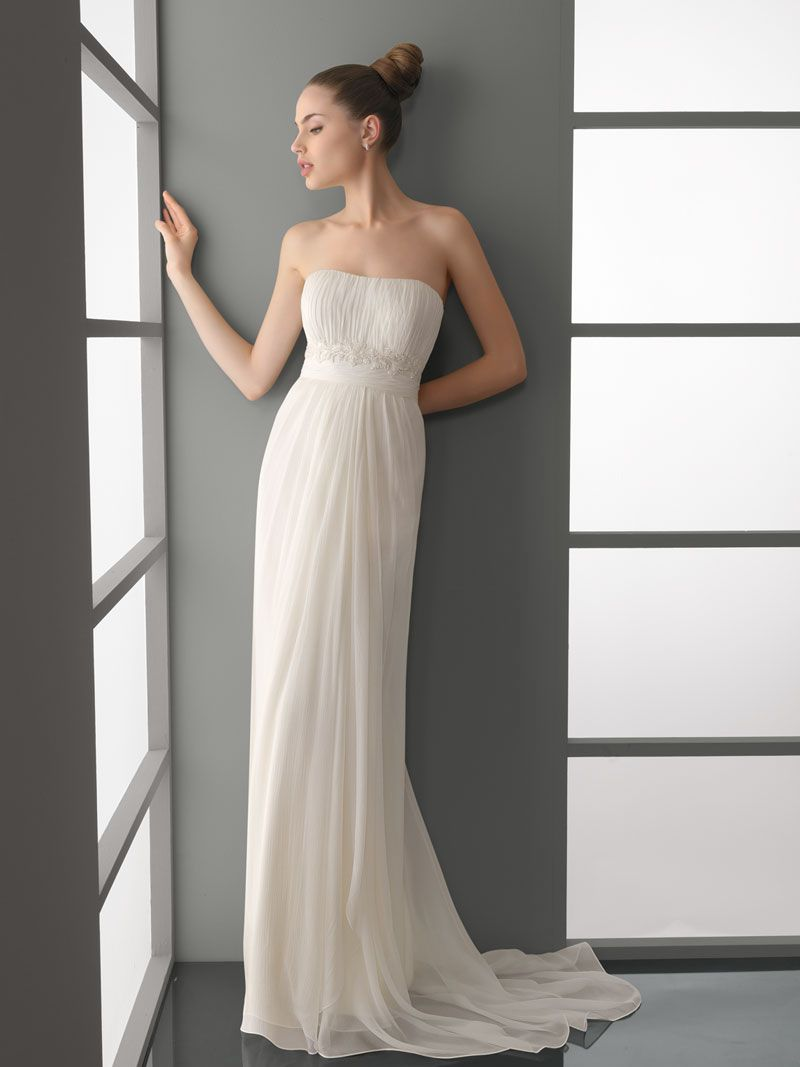 Cool modern simple strapless draped lace column wedding dress