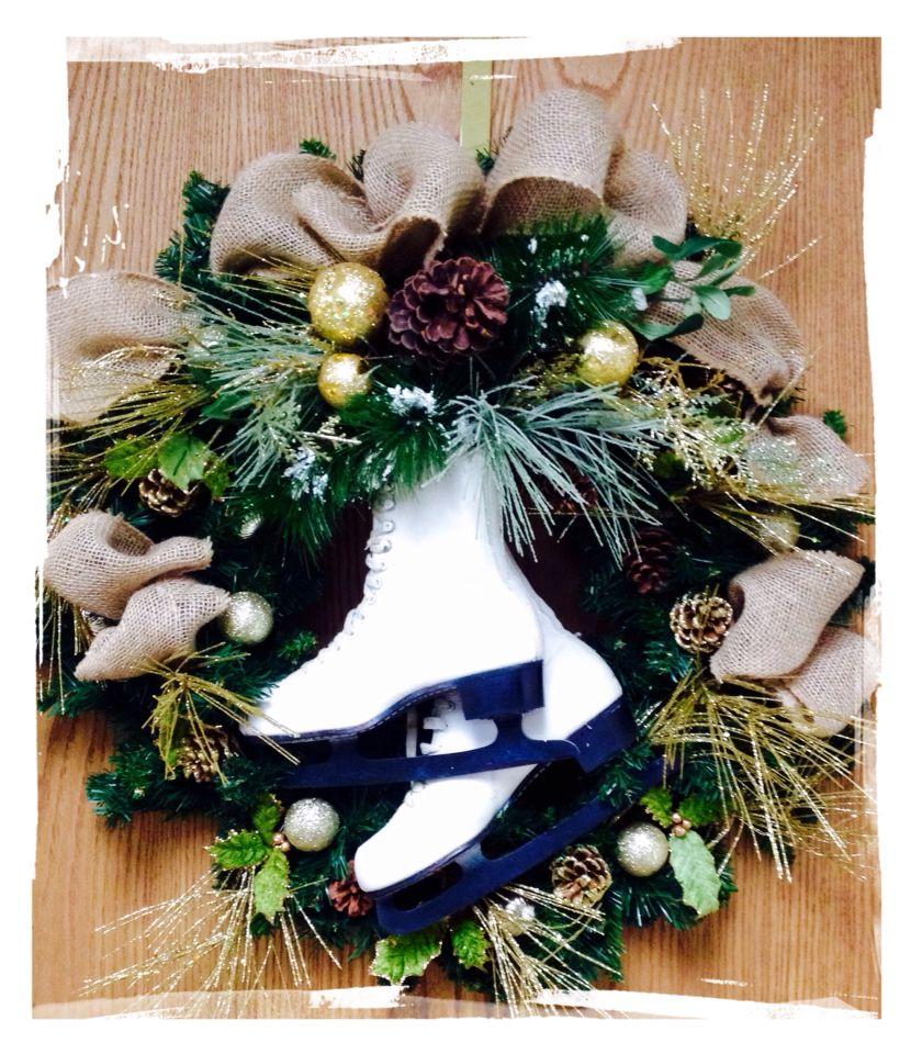 Old ice skates in a burlap theme wreath
