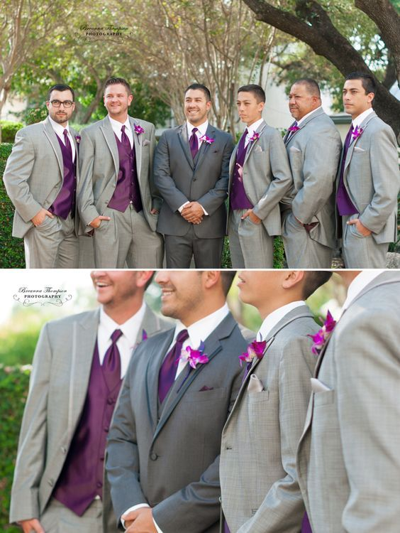 dark grey suit for the groom and light grey suits for the ...