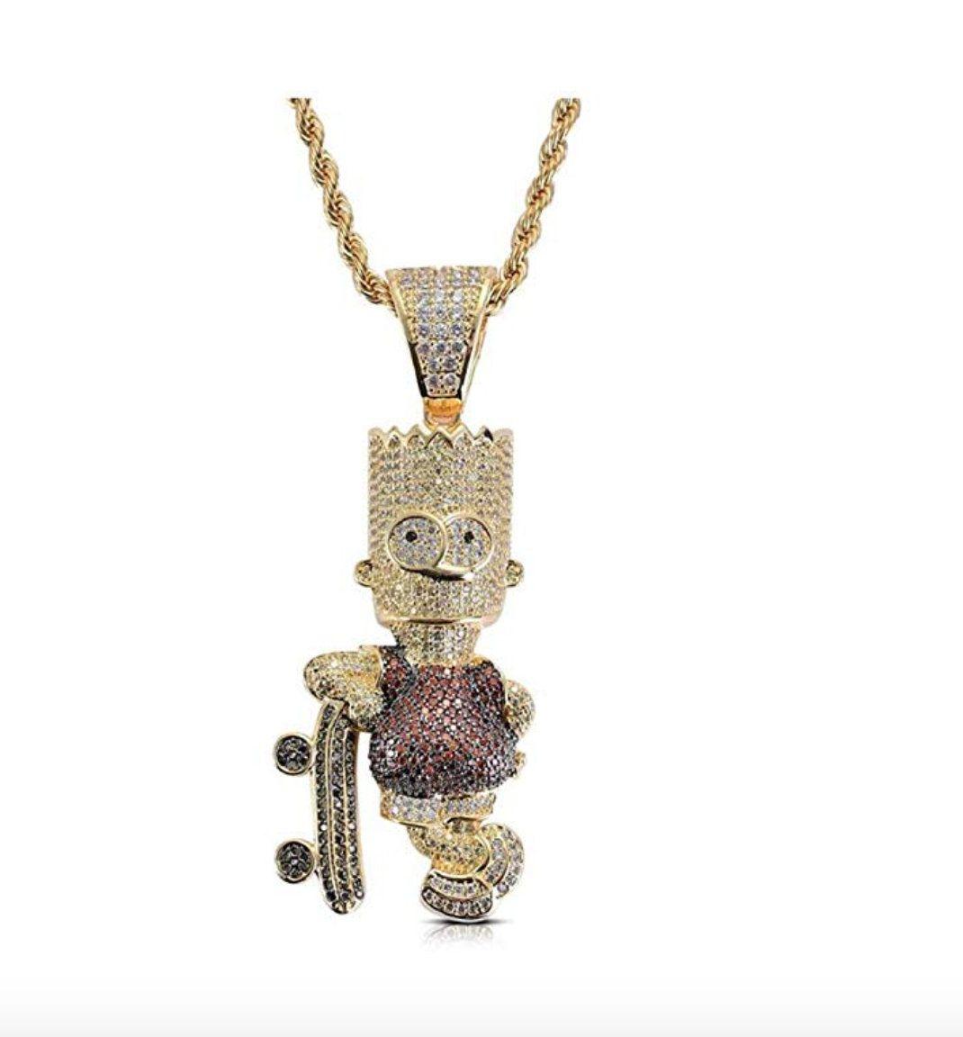 022ff88b22506 Bart Simpson CZ Diamond Gold Head Bart Simpson Skateboard Chain ...