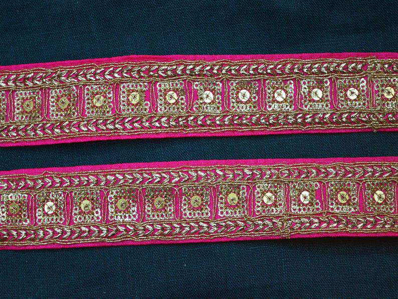 Embroidered Magenta Trim By 2 Yard Decorative Fabric Trimmings Etsy In 2020 Crazy Quilts Fabric Trimmings Sewing Accessories