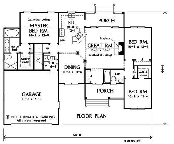 1400 sq ft w bonus room House plans one story Floor