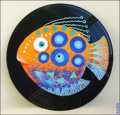 Painted Vinyl Record Orange Fish Vinyl Record Art Record Art Record Crafts