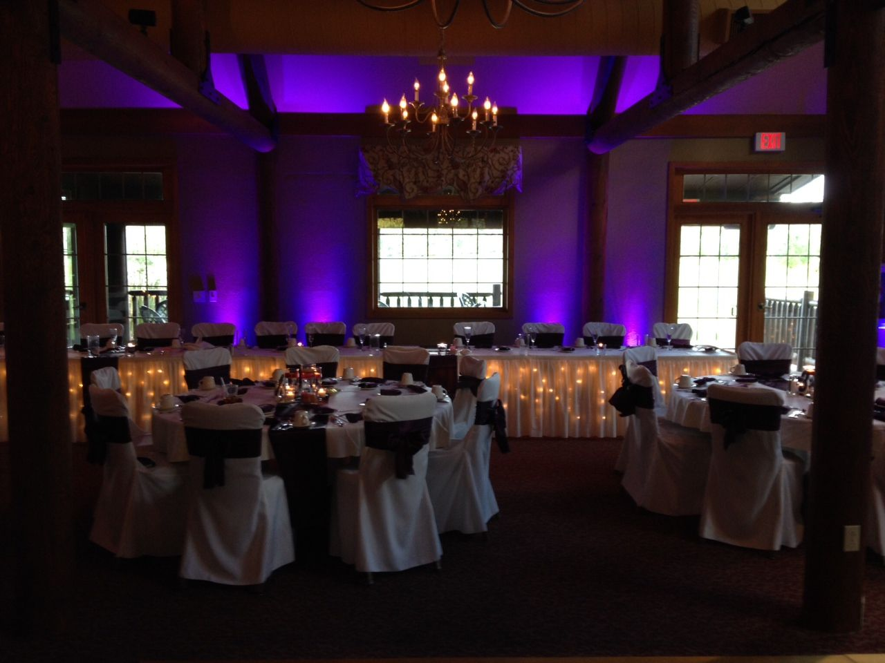 Chair Cover Rentals Peterborough Motorized Chairs For Elderly Purple Head Table Uplighting At The Wild Rock Clubhouse