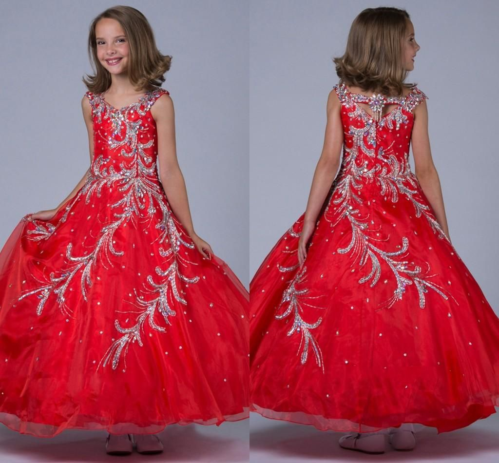 Red Ball Gown Pageant Dresses Tea Length Crystal Beaded Modern
