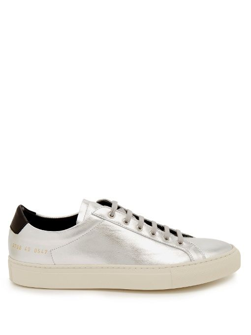 COMMON PROJECTS Leather Retro Low Achilles Sneakers in Metallic .