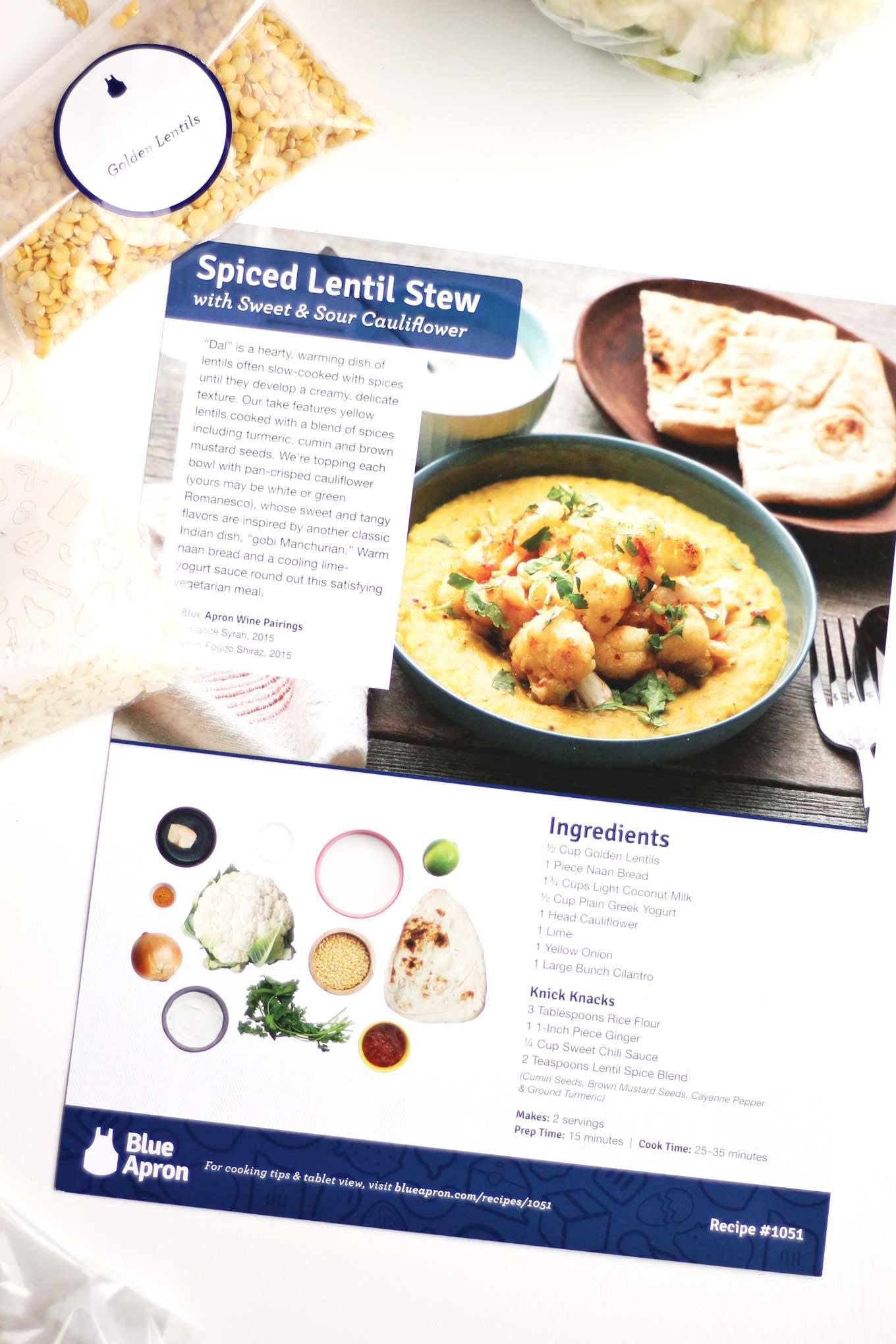 Blue apron lentil spice blend - Spiced Lentil Stew With Sweet And Sour Cauliflower Recipe Yellow Lentils Stew And Gluten