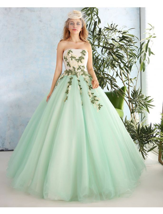 Vintage Style Strapless Floral Ball Gown Wedding Dress | Dresses ...