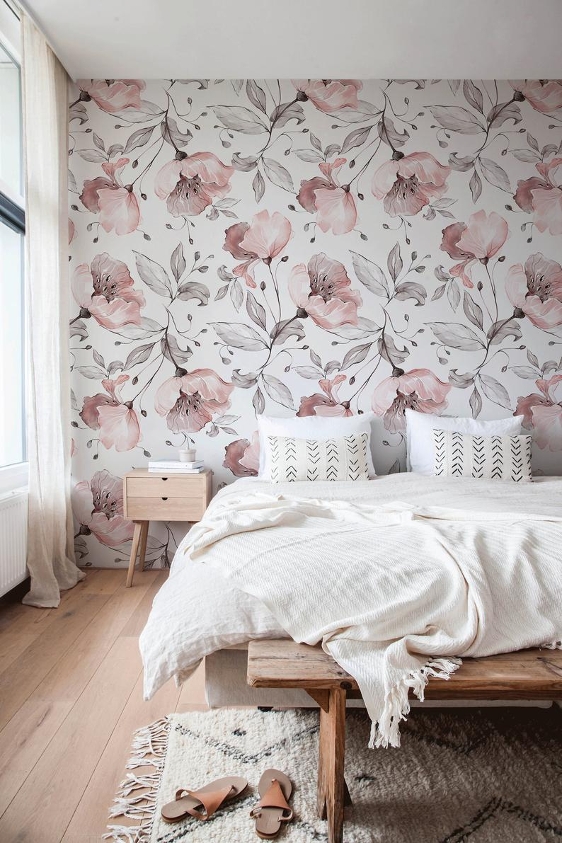 Removable Wallpaper Peel And Stick Wallpaper Wall Paper Wall Etsy Wallpaper Bedroom Feature Wall Wallpaper Decor Bedroom Floral Wallpaper Bedroom
