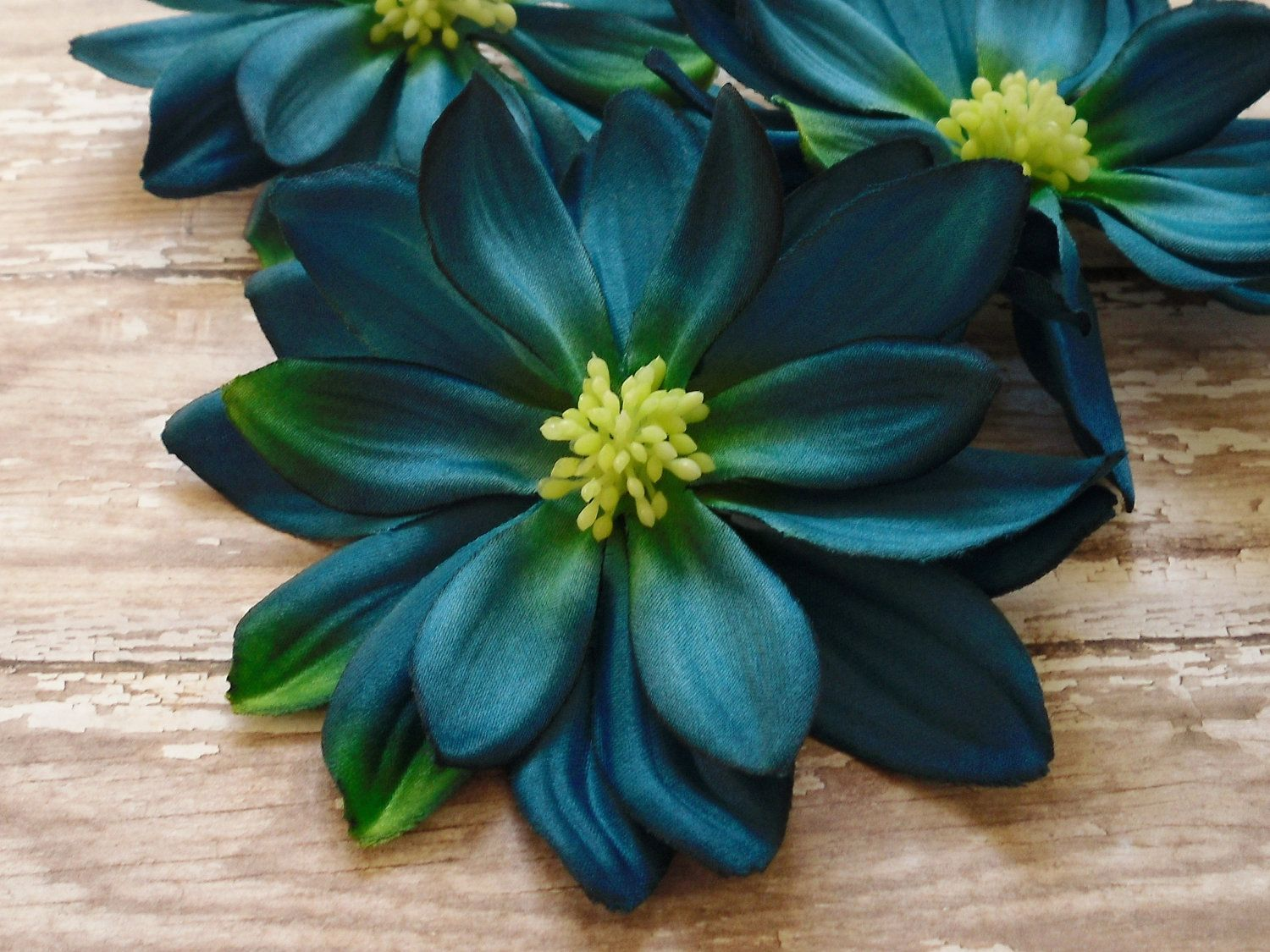 Last Set Three Large Teal Blue Dahlias 4 Inches Artificial Flowers