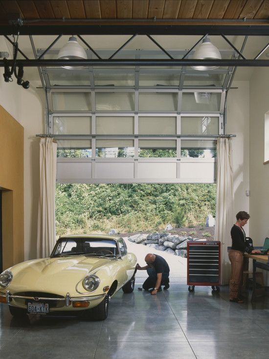 Garage Door Glass Design With Curtains With Images Door Glass