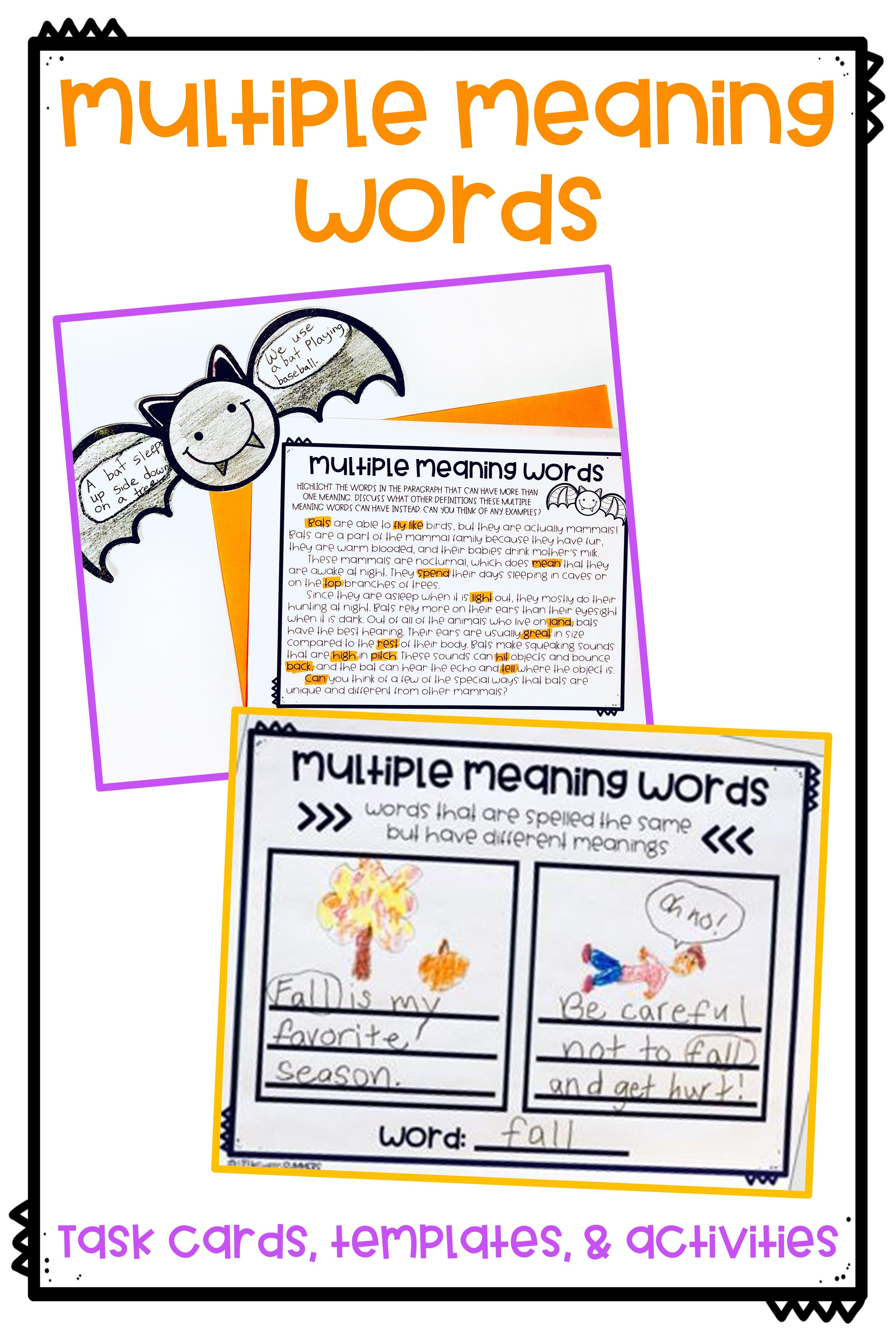 Multiple Meaning Words Fall Activities Task Cards Bats