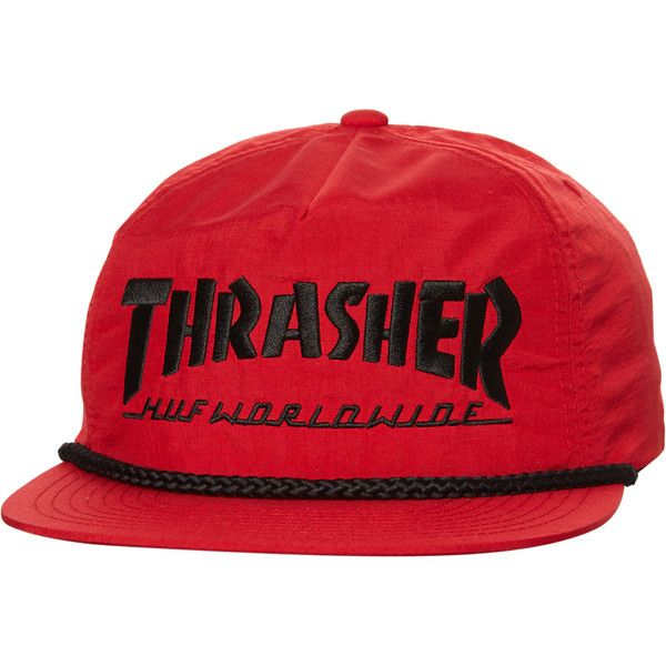 f574330302b Huf X Thrasher Collab Logo Cap Red ( 48) ❤ liked on Polyvore featuring  men s fashion
