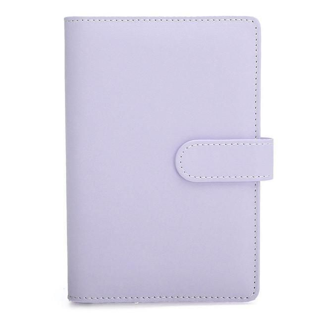 1pc Candy Color A6 Leather Loose Leaf Notebook Weekly Monthly Planner Diary Lined Notepad Agenda Ring Binder Organizer