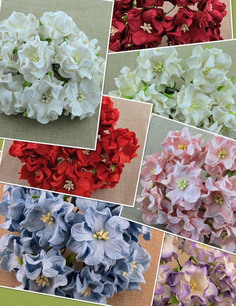 5 X Gardenias 35mm Mulberry Paper Flowers Cardmaking Paper Craft