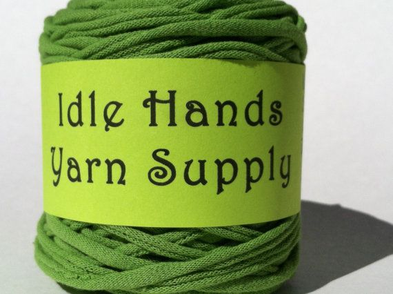 Green Tarn Recycled T Shirt Yarn  51 Yards by IdleHandsYarnSupply, $5.10