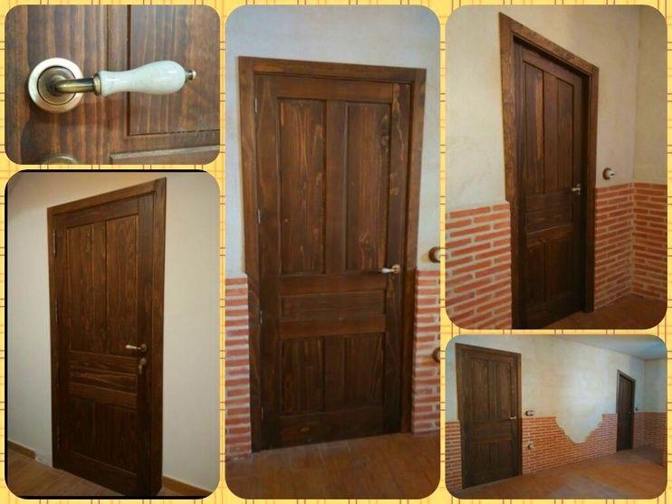 Puertas de madera maciza te idas en color nogal for Puertas madera maciza