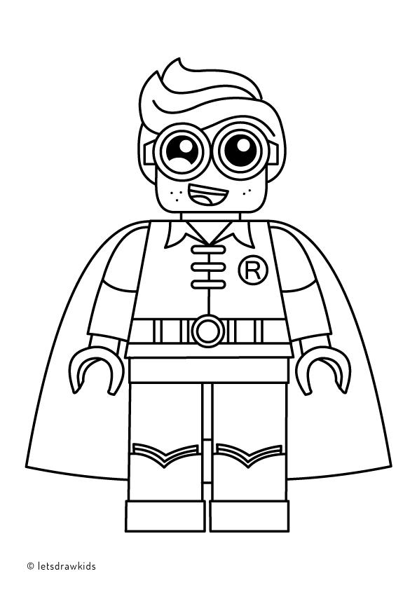 Coloring page for kids lego robin from the lego batman for Lego movie coloring pages