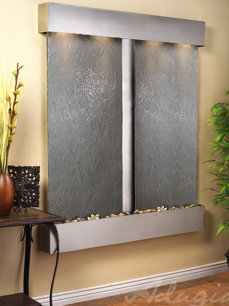 This Wall Mounted Water Wall With A Double Paneled Waterfall Is The Perfect Addition To Your Home Or Office You Can Customize This Wall Fountain Metal Walls Tabletop Water Fountain