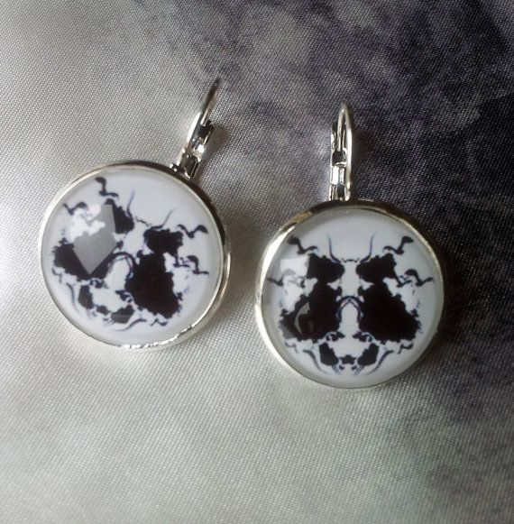 The Rorschach Test illustration Earrings Silver by miscelannia, $10.00