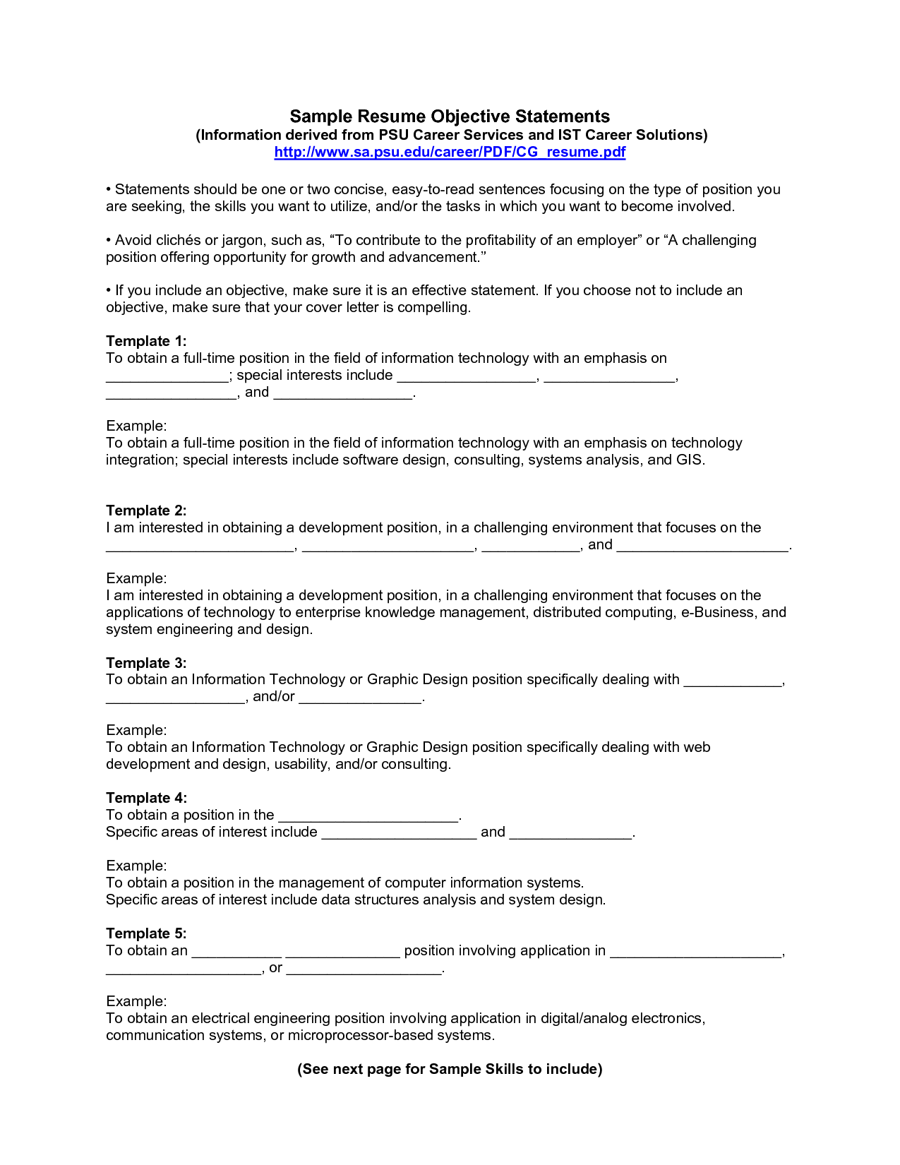 business objectives for resume