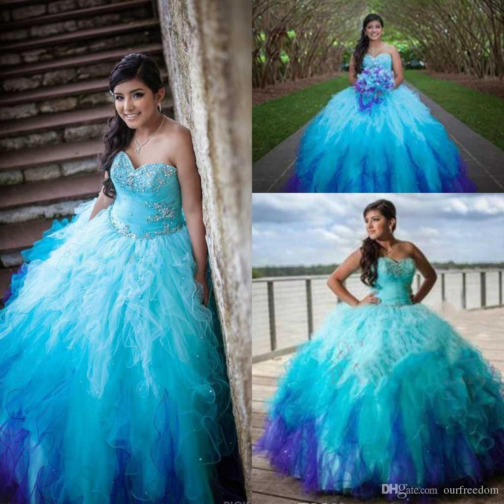 Blue Sweetheart Rainbow Colored Quinceanera Dresses 2016 Crystal ...