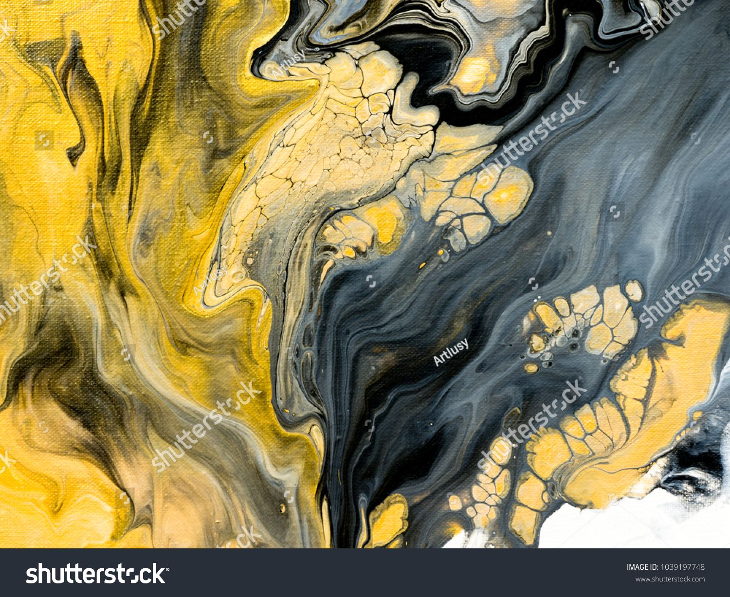 Abstract Hand Painted Black And White With Gold Background Close