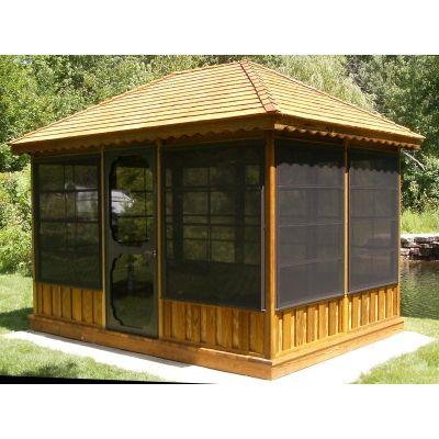 Screened pavilion gazebo sale gazebo kit gazebos for for Wooden gazebo kit