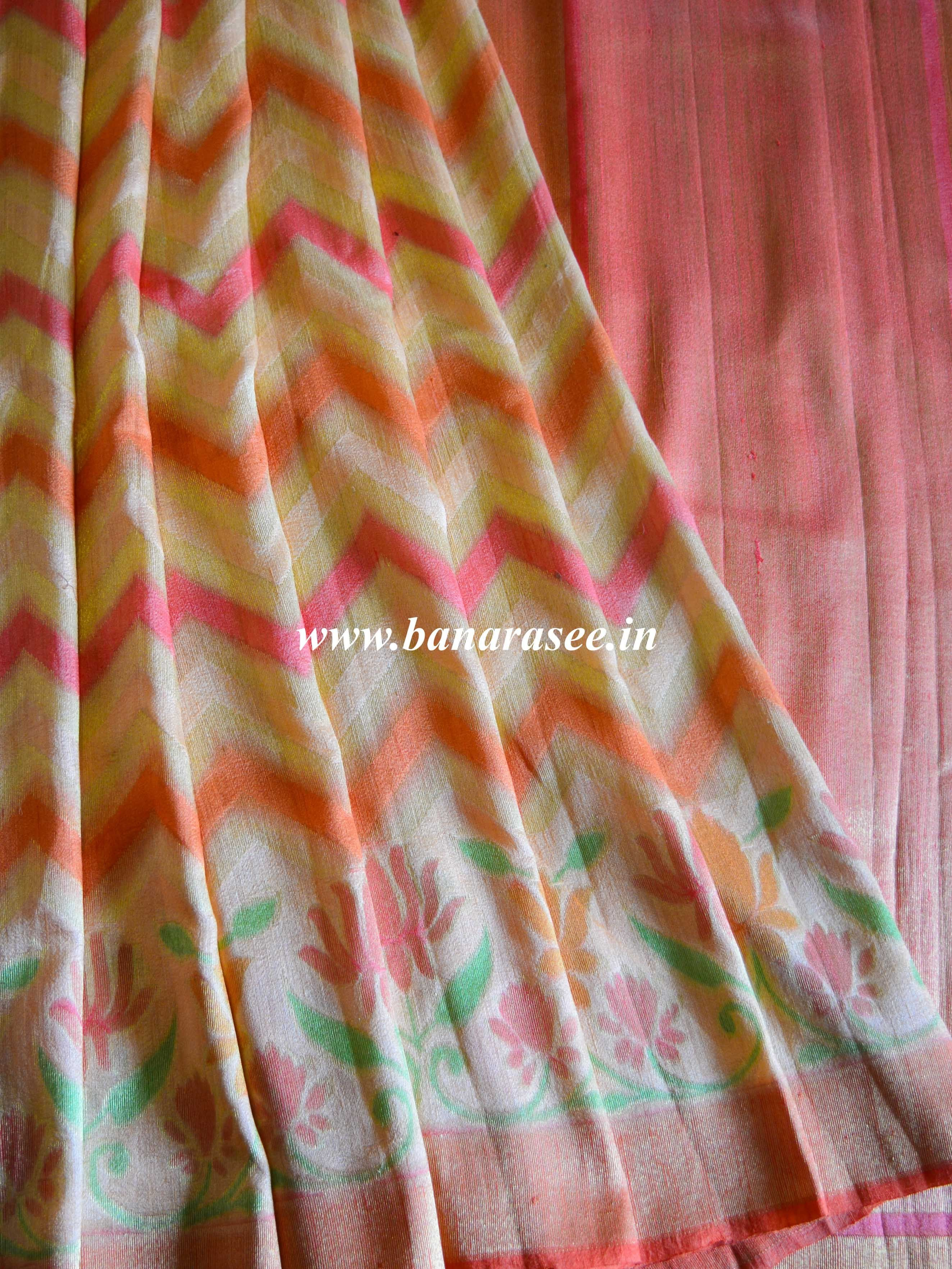 97bbd597a2bd10 Banarasee Pure Handloom Dupion Silk Saree With Handpainted Lotus Border -Peach
