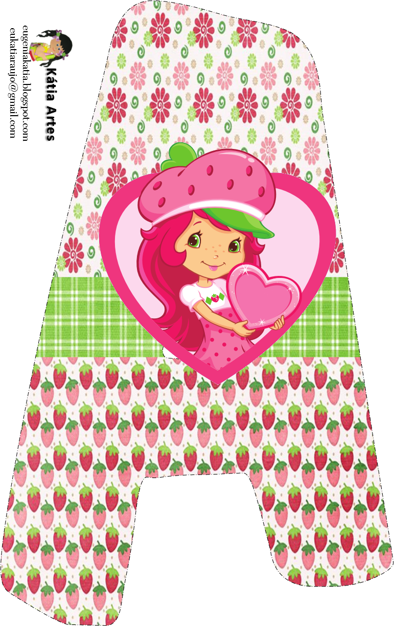 Alfabeto de Strawberry Shortcake con fresas y flores. | imprimibles ...