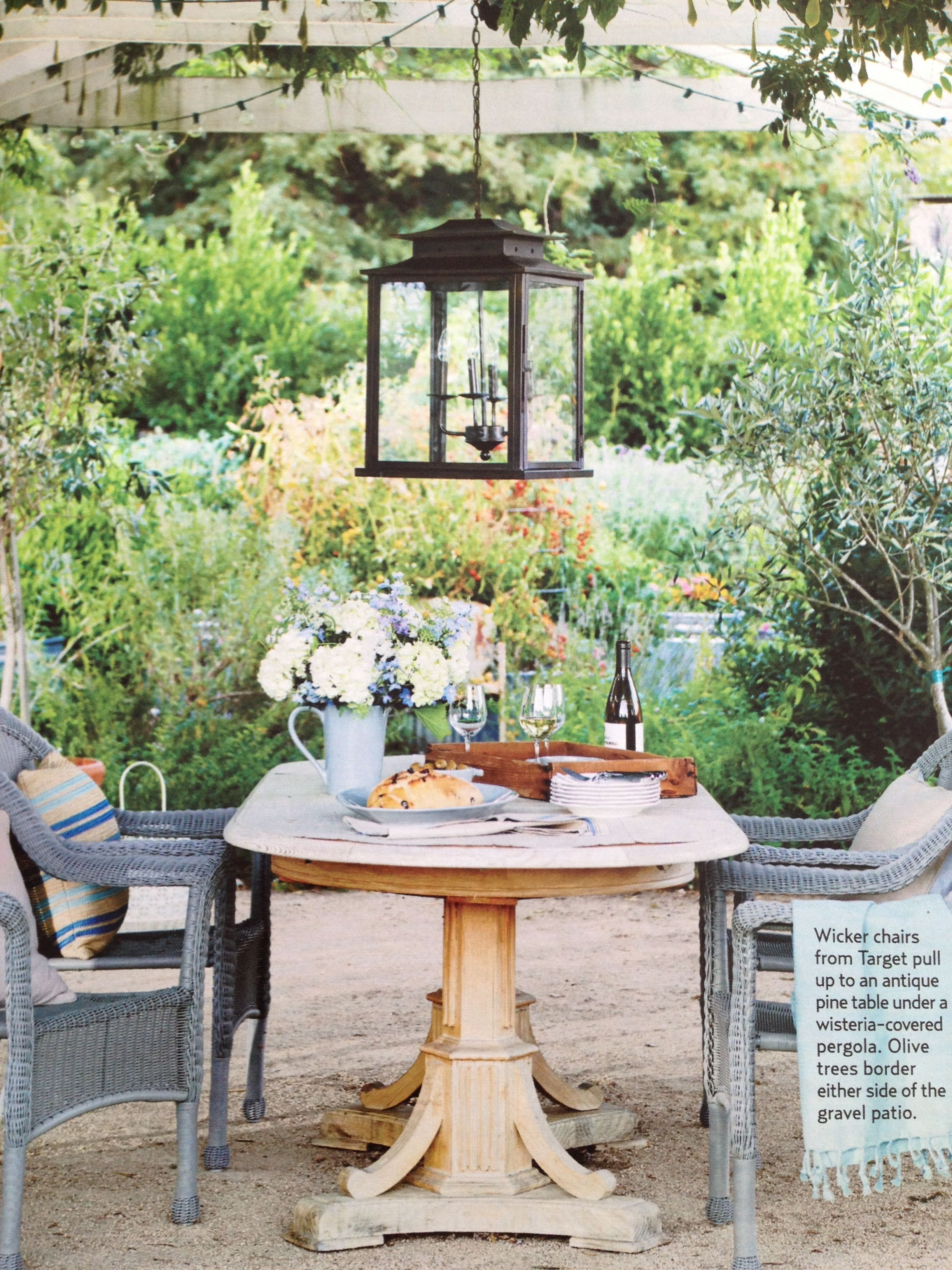 Table, Lantern, Painted Wicker Chairs - Country Living ...