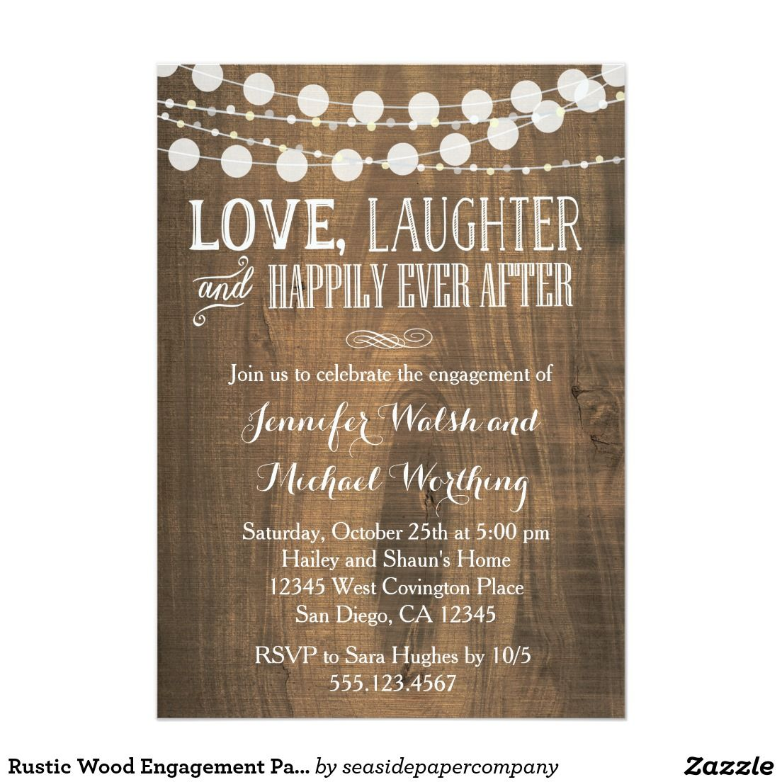 Rustic wood engagement party invitation engagement party for Invitation for engagement party