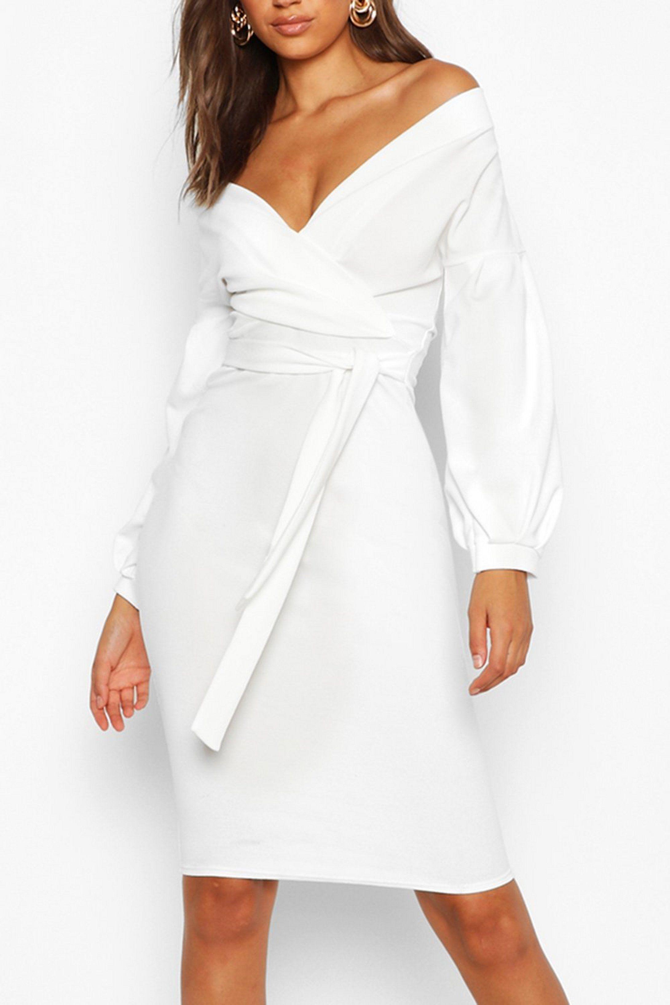 Tall Off The Shoulder Wrap Midi Bodycon Dress Boohoo Long Sleeve White Midi Dress Bodycon Dress Midi Dress Bodycon [ 3272 x 2181 Pixel ]