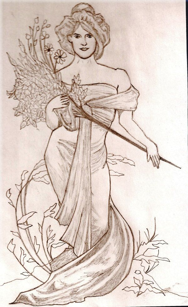 - Alphonse Mucha Coloring Pages Another Mucha Drawing By Sponte On  DeviantART
