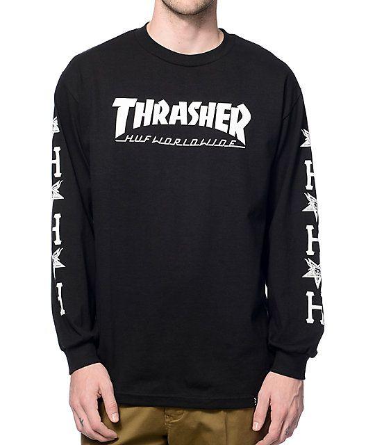 8fa255598 HUF x Thrasher Black Long Sleeve T-Shirt | Stuff I would wear | Long ...