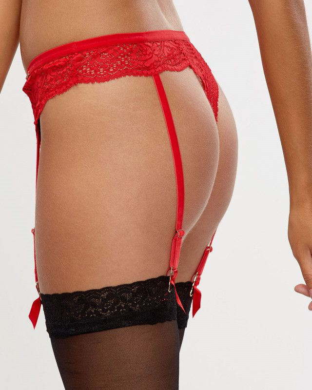 37074db65 Thong Panty with Removable Garters - Red in 2018