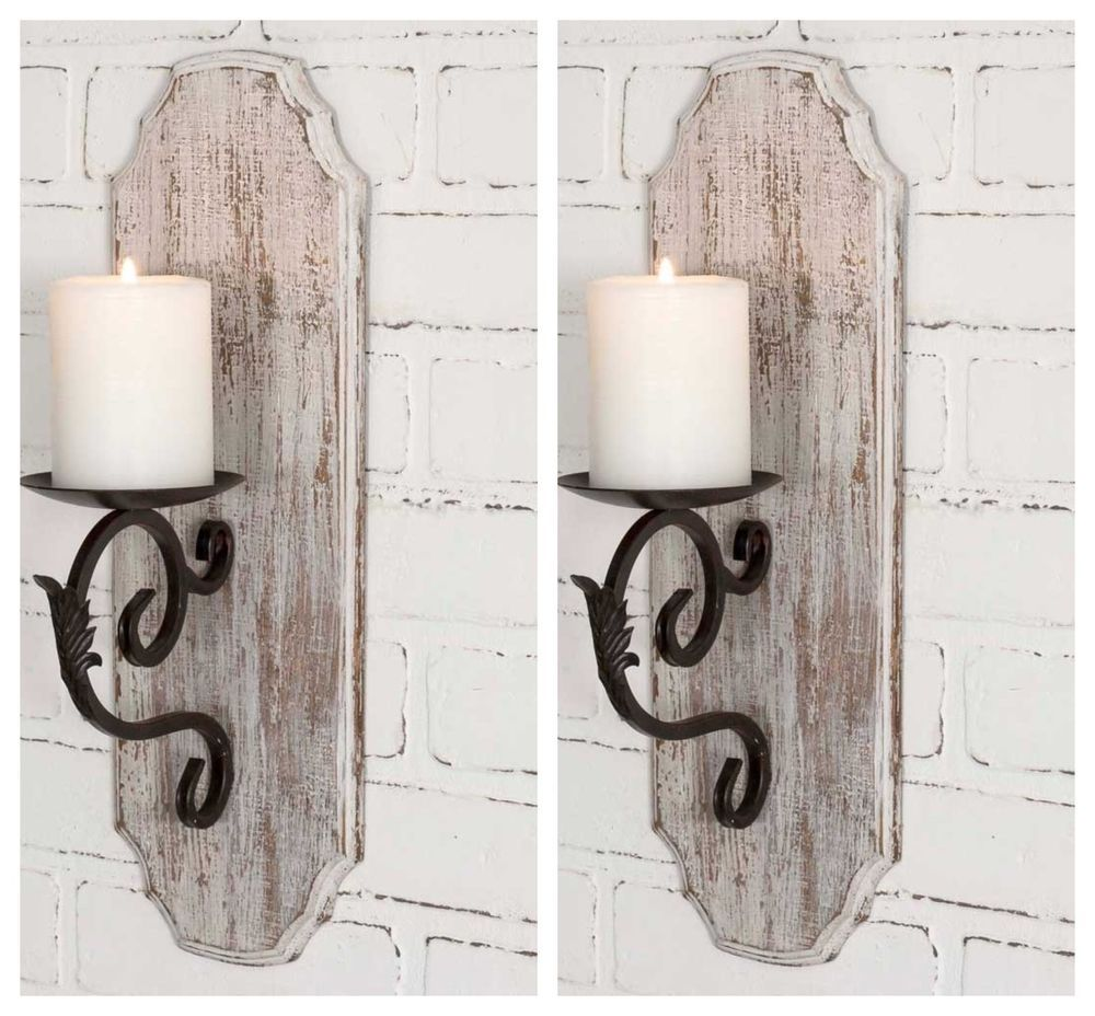 Pair Of Distressed White Wood Pillar Candle Holders Farmhouse Decor Wall Hanging Unbran Wall Candle Holders Diy Wall Candle Holders Wood Pillar Candle Holders