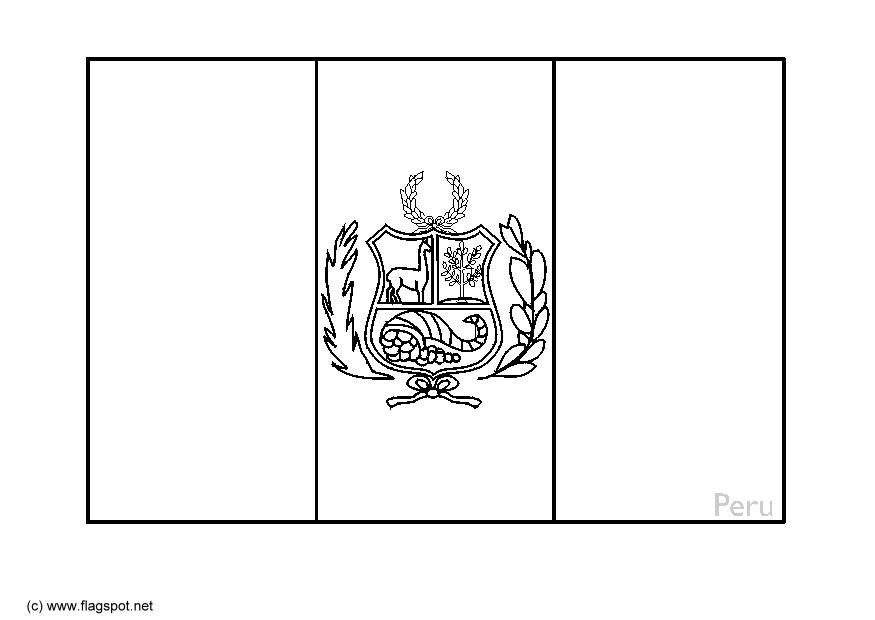 Peru Flag Coloring Page The Sides Are Red Blue Behind Lama And Cornicopia