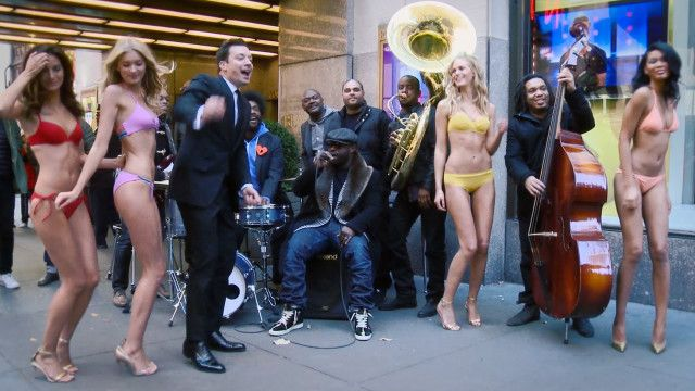 Vanityfair cover photo shoots jimmy fallon hits the streets with bikini clad supermodels