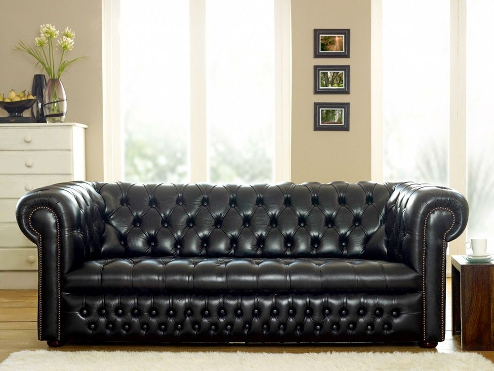 Cool Black Sofas In U Shaped Design: Elegant Living Room Furniture Leather  Black Sofas Glass Floral Vase Wooden Floor In Classic Design Idea.