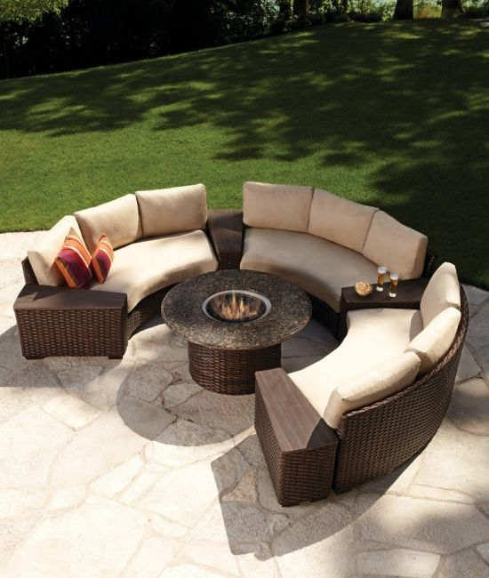 The Circular Fire Pit Allows For Easy Conversation When Friends And Family Gather In The Coordinat Fire Pit Patio Set Backyard Furniture Wicker Patio Furniture