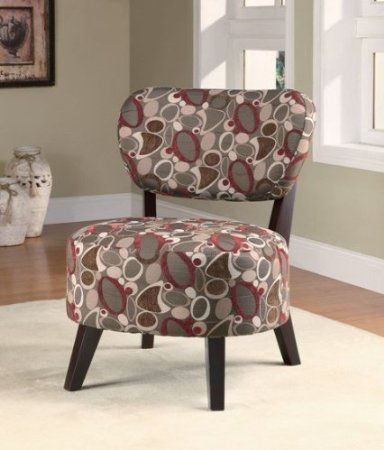 Amazon Com Accent Chair With Oblong Pattern In Dark Brown Wood Legs Home Kitchen Fauteuil Bureau
