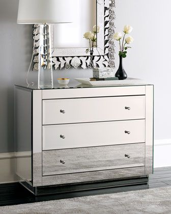 Ryan Mirrored Chest Mirrored Bedroom Furniture Mirrored