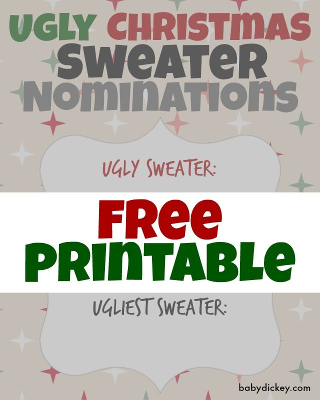 Ugly Christmas Sweater Party - FREE printables - voting cards to ...