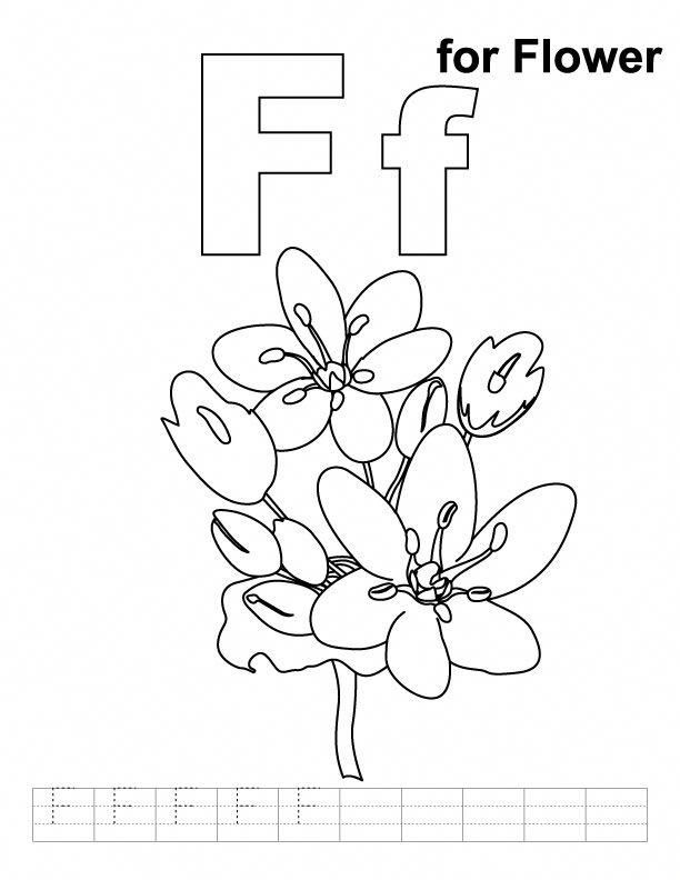 F for flower coloring page with handwriting practice #