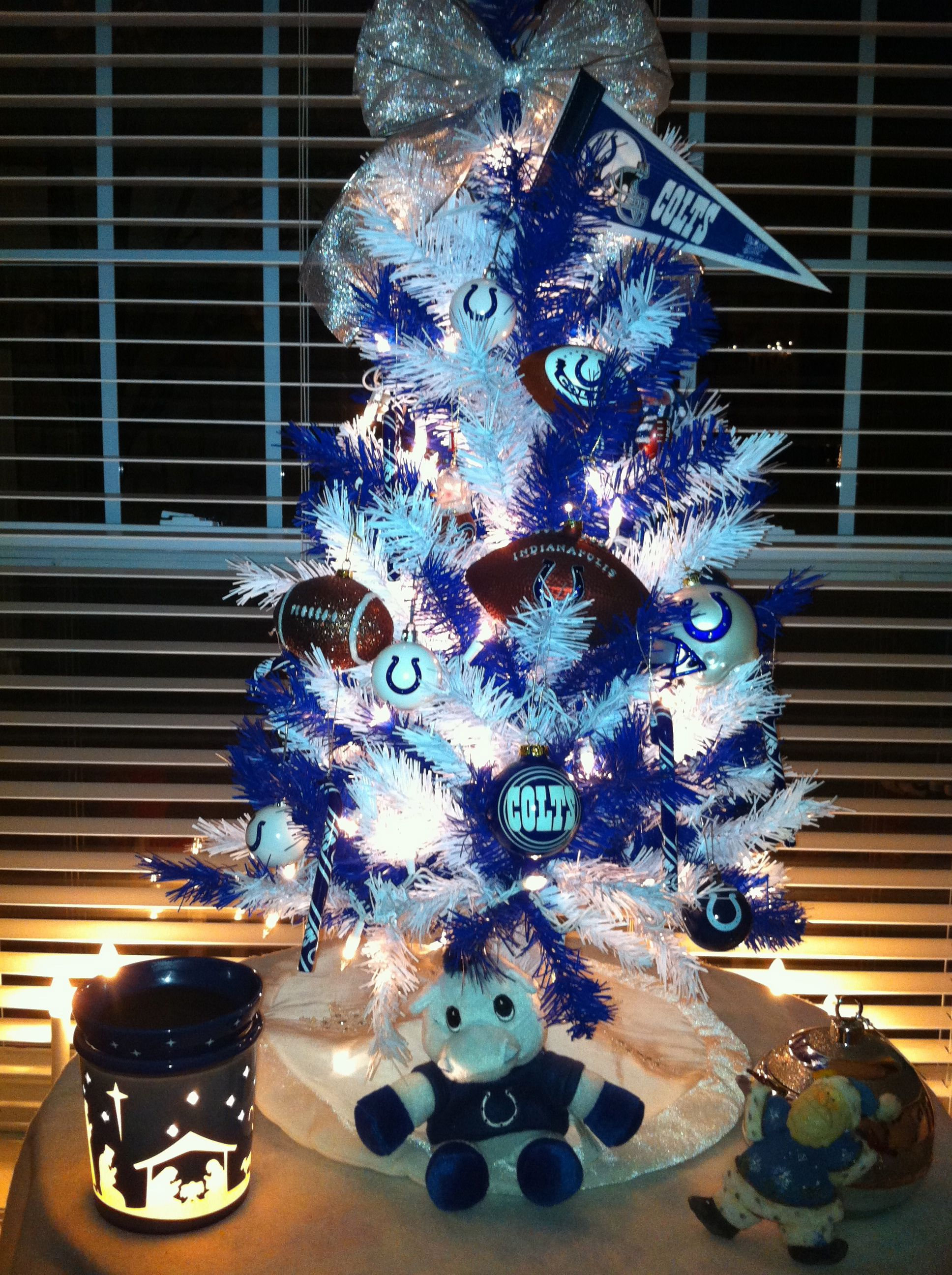 Colts themed Christmas tree...this would look good in his