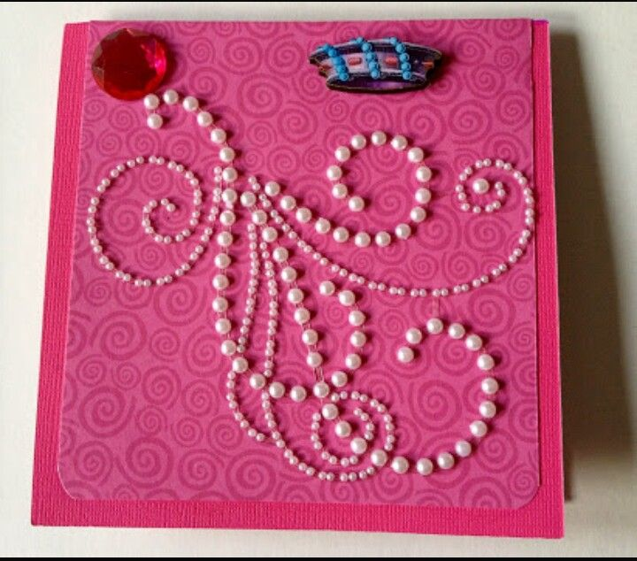 Beautiful Greeting Card Decorated By Half Moti And Beads With