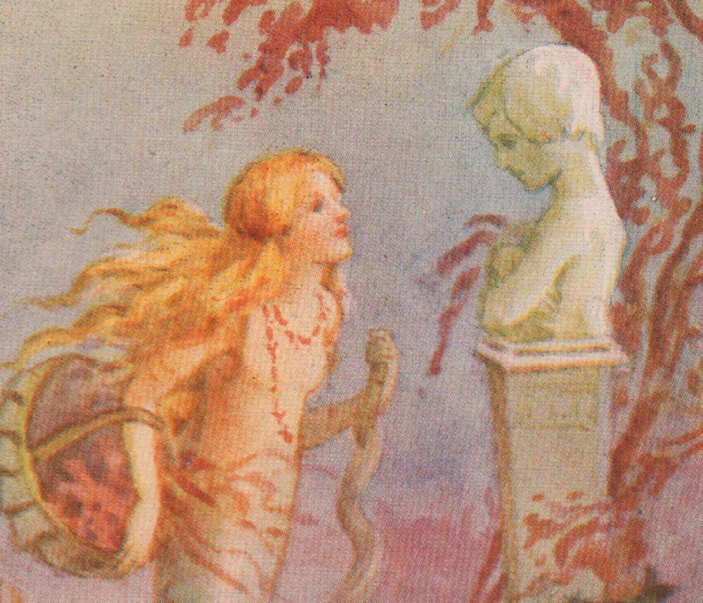 Little Mermaid Prince Statue Hans Fairy Tales 1920 Margaret Tarrant Matted Print