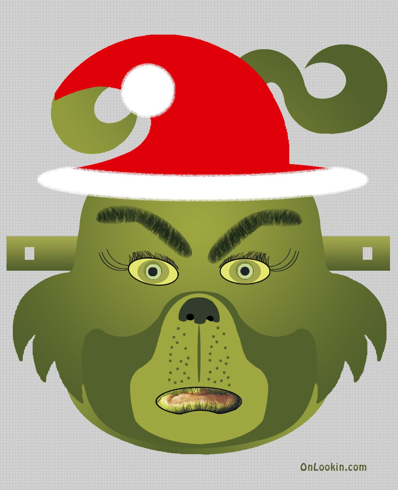 Grinch Santa Face Mask Cut Out A4