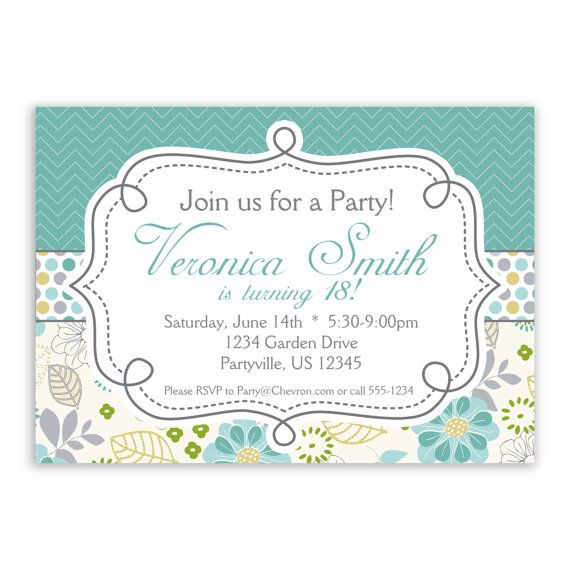 Chevron Invitation  Turquoise Chevron and Grey by PurpleBerryInk, $15.00